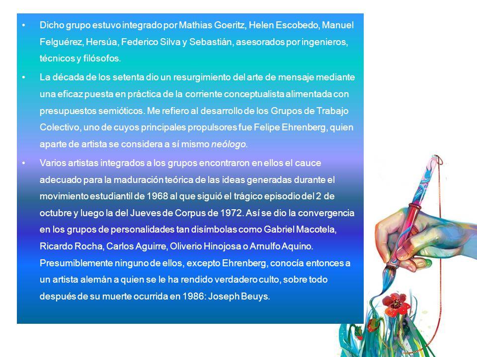 Dicho grupo estuvo integrado por Mathias Goeritz, Helen Escobedo, Manuel Felguérez, Hersúa, Federico Silva y Sebastián, asesorados por ingenieros, técnicos y filósofos.