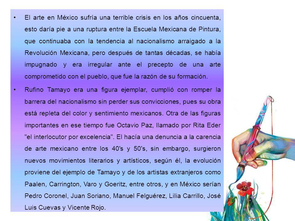 A continuación veremos cronológicamente sucesos de la década de los 50´s 1951 El salón de la Plática Mexicana tenía sólo un par de meses de haber sido fundado con el propósito de alentar la venta de la obra del caballete de los inmigrantes de la Escuela Mexicana de Pintura.