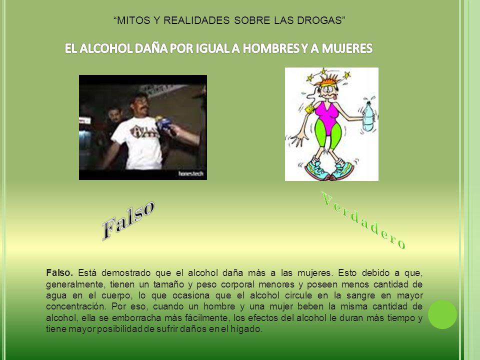 Falso.Está demostrado que el alcohol daña más a las mujeres.