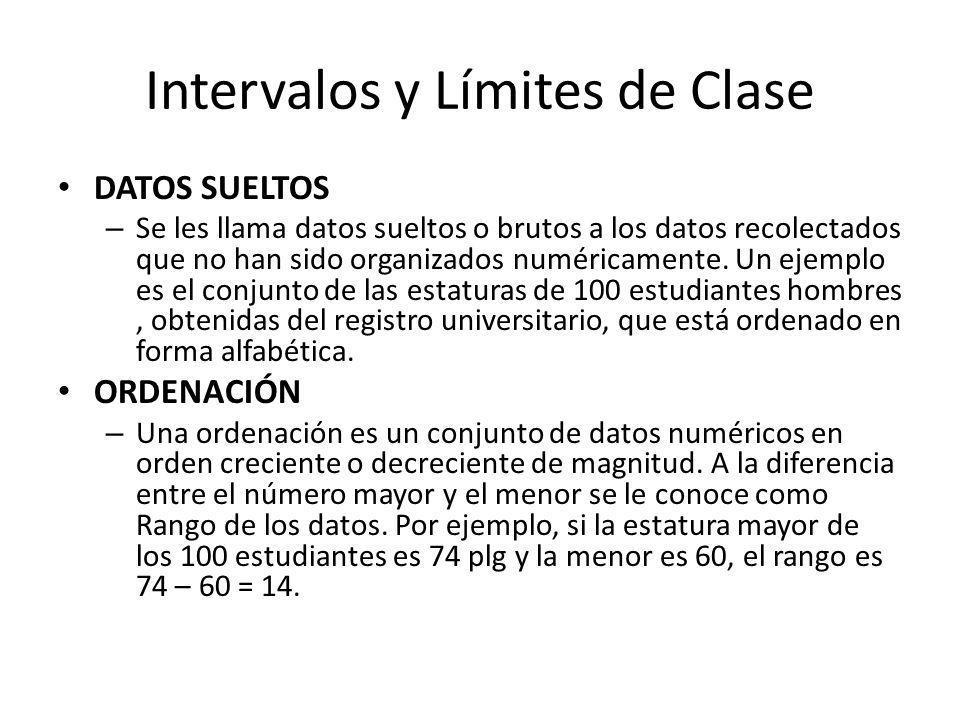 Intervalos y Límites de Clase DATOS SUELTOS – Se les llama datos sueltos o brutos a los datos recolectados que no han sido organizados numéricamente.