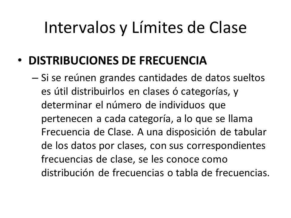 Intervalos y Límites de Clase DISTRIBUCIONES DE FRECUENCIA – Si se reúnen grandes cantidades de datos sueltos es útil distribuirlos en clases ó categorías, y determinar el número de individuos que pertenecen a cada categoría, a lo que se llama Frecuencia de Clase.