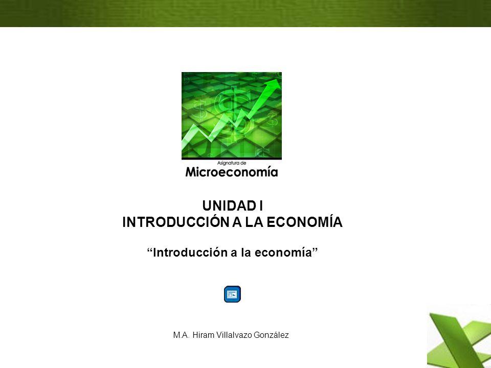 M.A. Hiram Villalvazo González UNIDAD I INTRODUCCIÓN A LA ECONOMÍA Introducción a la economía