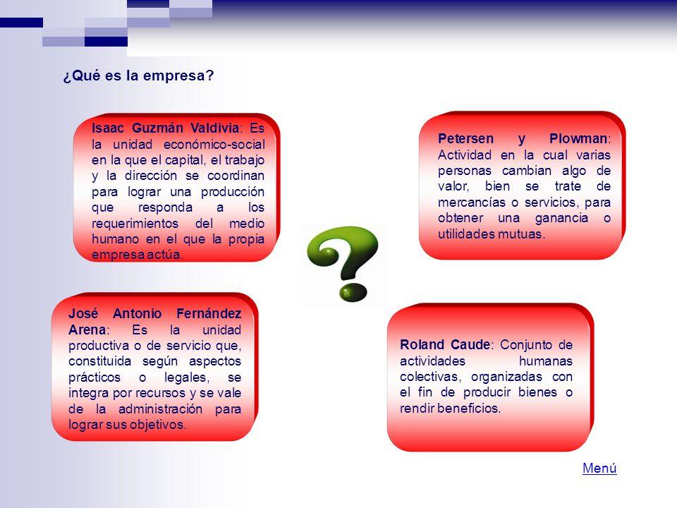 ¿Qué es la empresa? Isaac Guzmán Valdivia: Es la unidad económico-social en la que el capital, el trabajo y la dirección se coordinan para lograr una