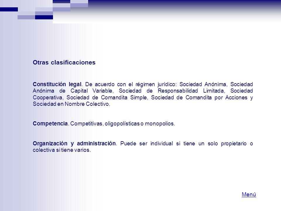 Otras clasificaciones Constitución legal. De acuerdo con el régimen jurídico: Sociedad Anónima, Sociedad Anónima de Capital Variable, Sociedad de Resp
