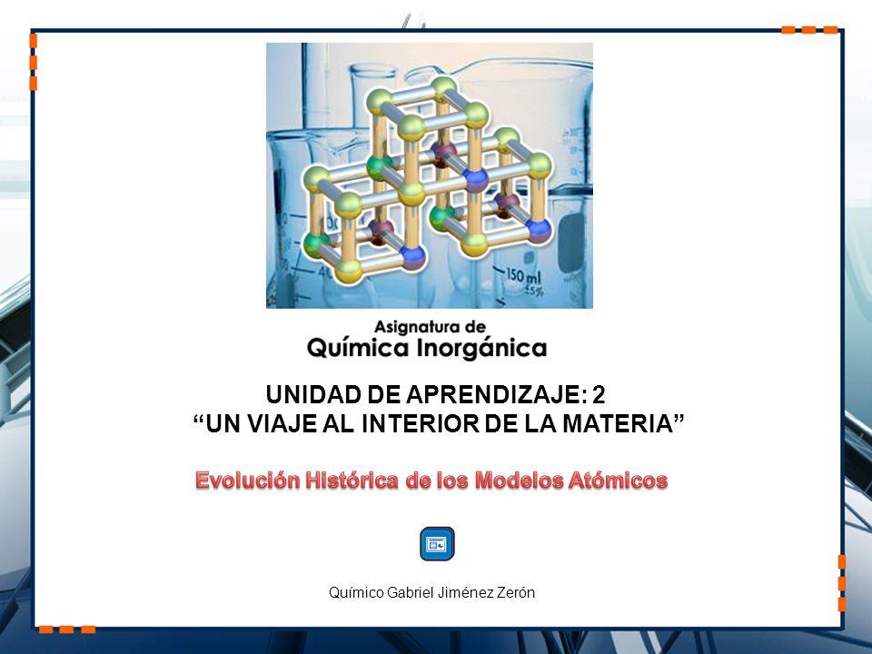 UNIDAD DE APRENDIZAJE: 2 UN VIAJE AL INTERIOR DE LA MATERIA Químico Gabriel Jiménez Zerón