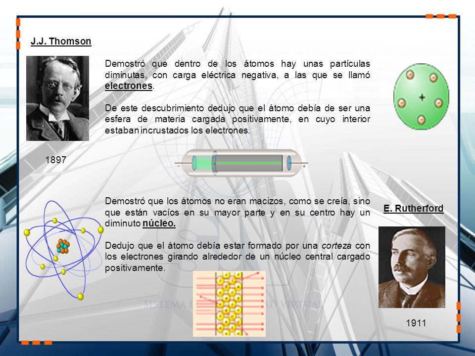 J.J. Thomson 1897 Demostró que dentro de los átomos hay unas partículas diminutas, con carga eléctrica negativa, a las que se llamó electrones. De est