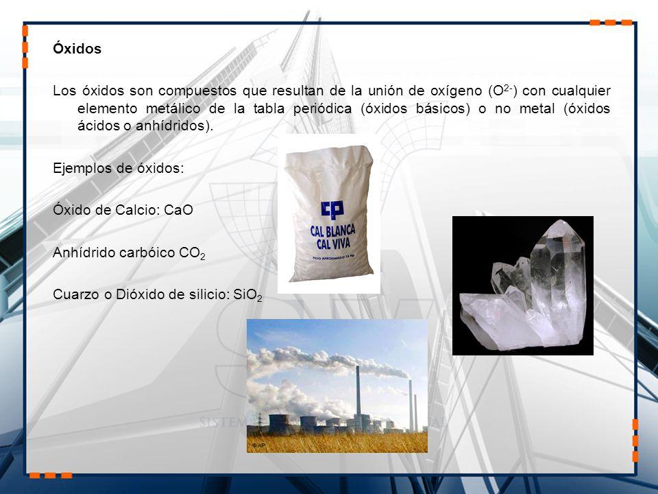 Óxidos Los óxidos son compuestos que resultan de la unión de oxígeno (O 2- ) con cualquier elemento metálico de la tabla periódica (óxidos básicos) o no metal (óxidos ácidos o anhídridos).