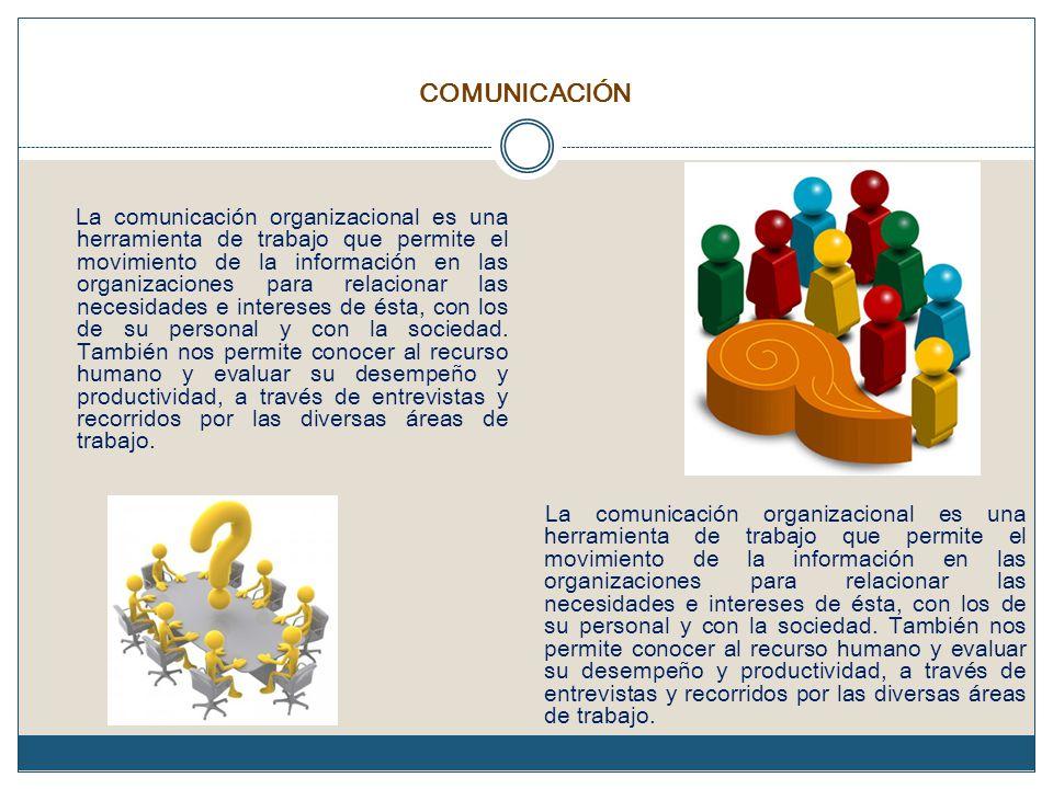 COMUNICACIÓN La comunicación organizacional es una herramienta de trabajo que permite el movimiento de la información en las organizaciones para relacionar las necesidades e intereses de ésta, con los de su personal y con la sociedad.
