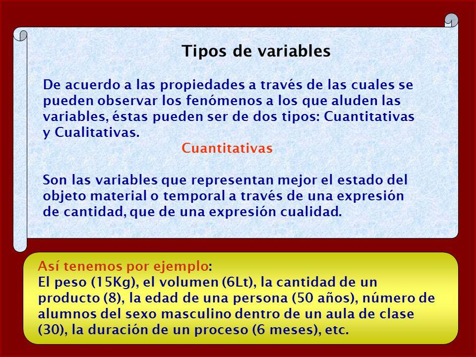 Tipos de variables De acuerdo a las propiedades a través de las cuales se pueden observar los fenómenos a los que aluden las variables, éstas pueden s
