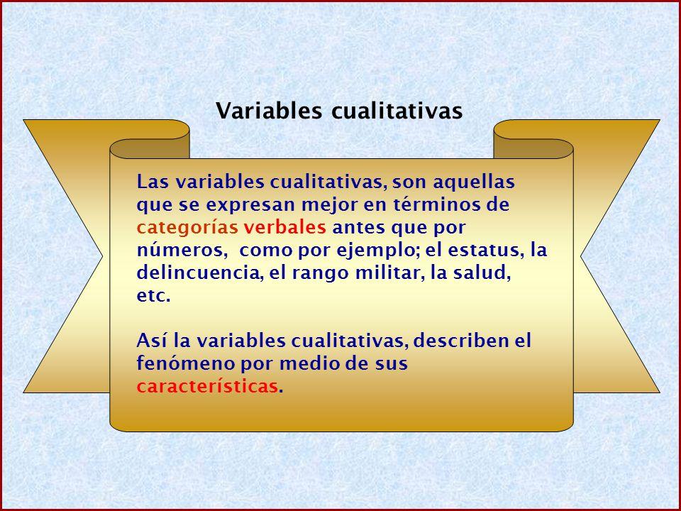 Variables cualitativas Las variables cualitativas, son aquellas que se expresan mejor en términos de categorías verbales antes que por números, como p