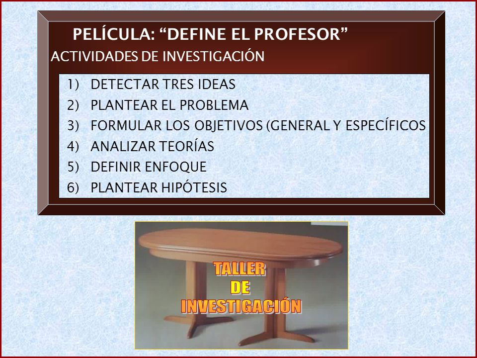 PELÍCULA: DEFINE EL PROFESOR ACTIVIDADES DE INVESTIGACIÓN 1)DETECTAR TRES IDEAS 2)PLANTEAR EL PROBLEMA 3)FORMULAR LOS OBJETIVOS (GENERAL Y ESPECÍFICOS