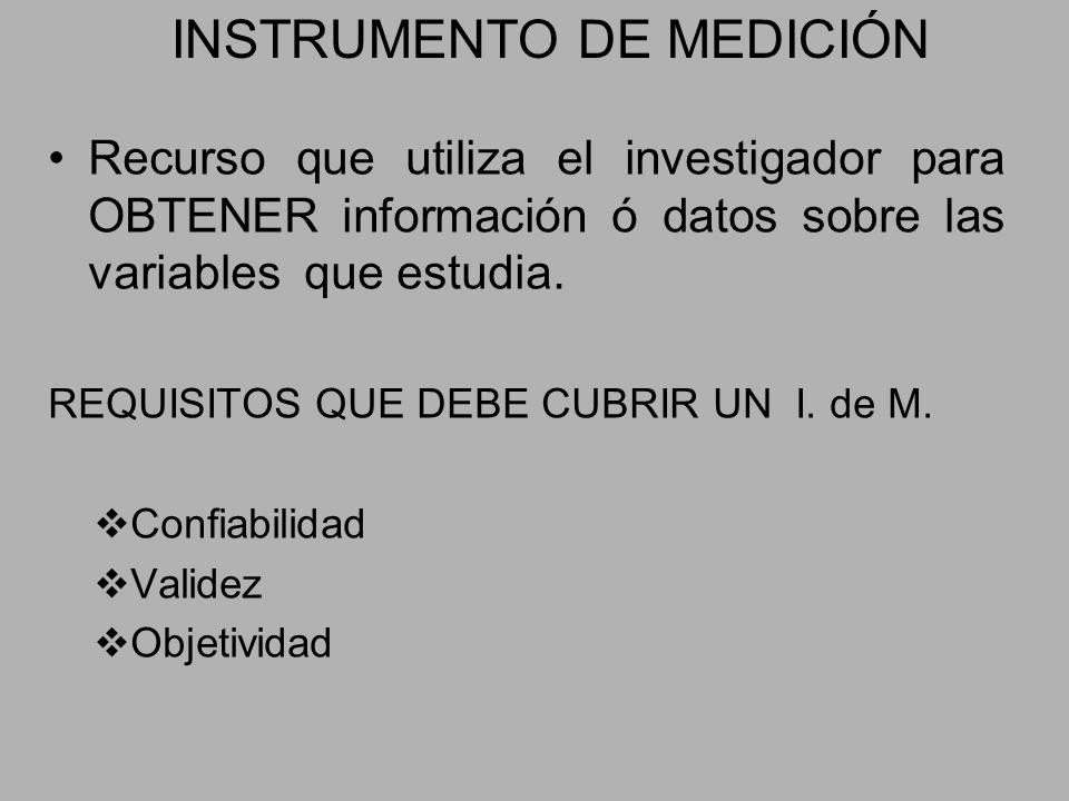 INSTRUMENTO DE MEDICIÓN Recurso que utiliza el investigador para OBTENER información ó datos sobre las variables que estudia. REQUISITOS QUE DEBE CUBR