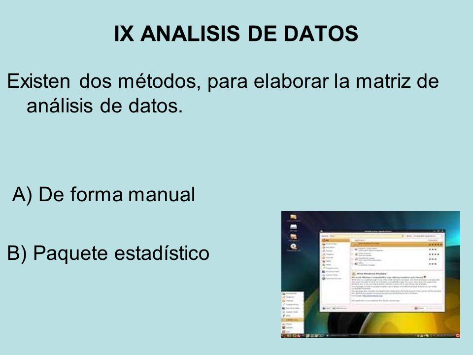 IX ANALISIS DE DATOS Existen dos métodos, para elaborar la matriz de análisis de datos. A) De forma manual B) Paquete estadístico