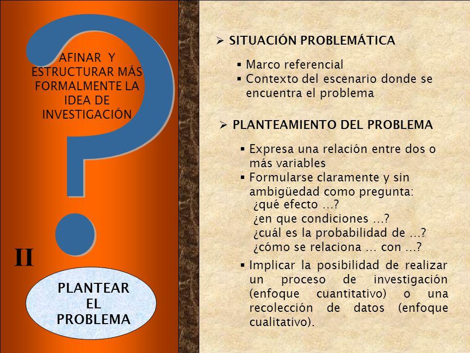 AFINAR Y ESTRUCTURAR MÁS FORMALMENTE LA IDEA DE INVESTIGACIÓN SITUACIÓN PROBLEMÁTICA Marco referencial Contexto del escenario donde se encuentra el pr