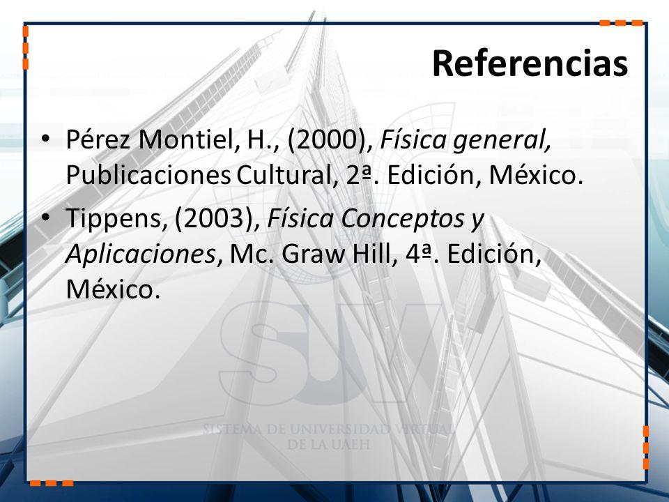 Referencias Pérez Montiel, H., (2000), Física general, Publicaciones Cultural, 2ª. Edición, México. Tippens, (2003), Física Conceptos y Aplicaciones,