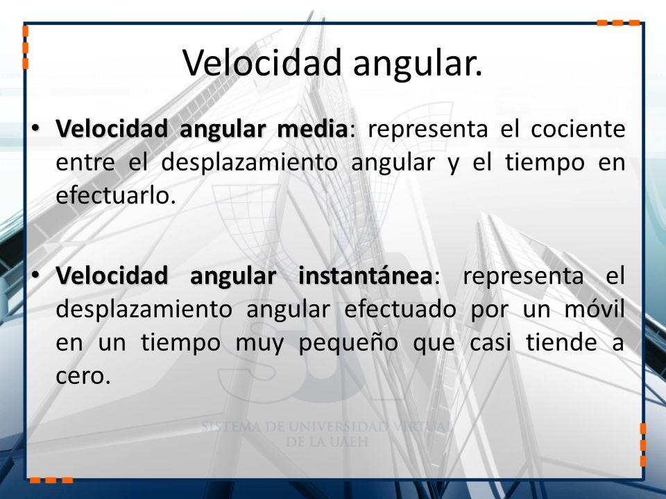 Velocidad angular. Velocidad angular media Velocidad angular media: representa el cociente entre el desplazamiento angular y el tiempo en efectuarlo.