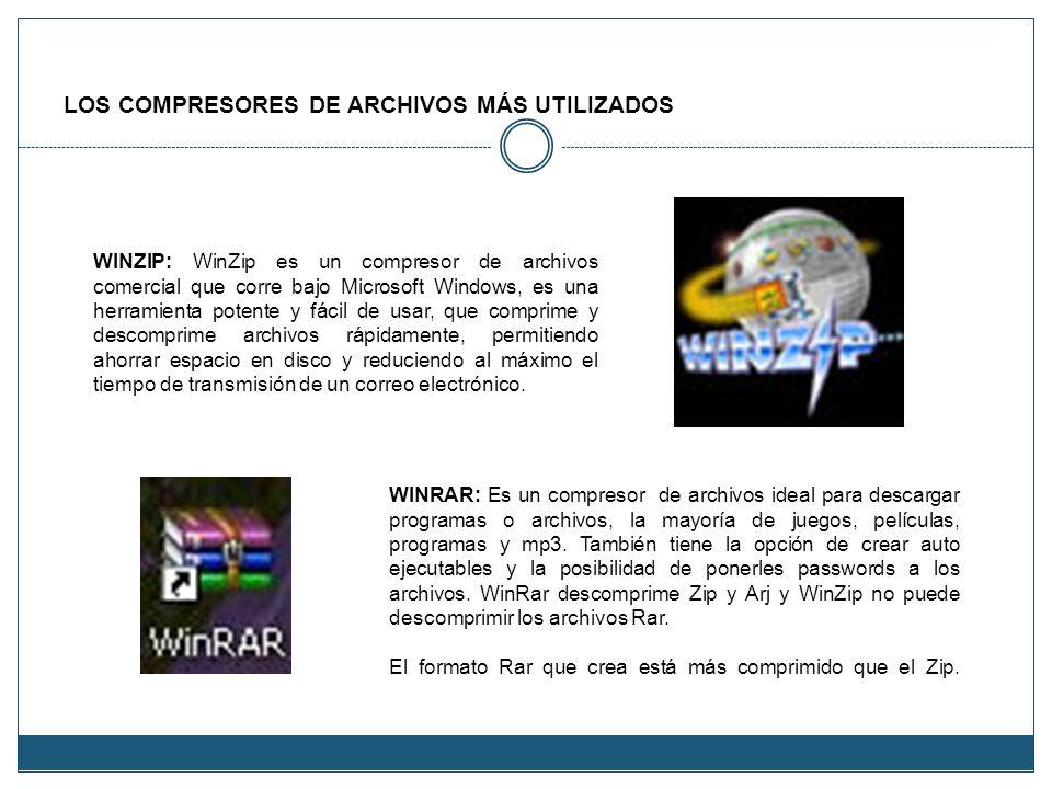 LOS COMPRESORES DE ARCHIVOS MÁS UTILIZADOS WINRAR: Es un compresor de archivos ideal para descargar programas o archivos, la mayoría de juegos, pelícu