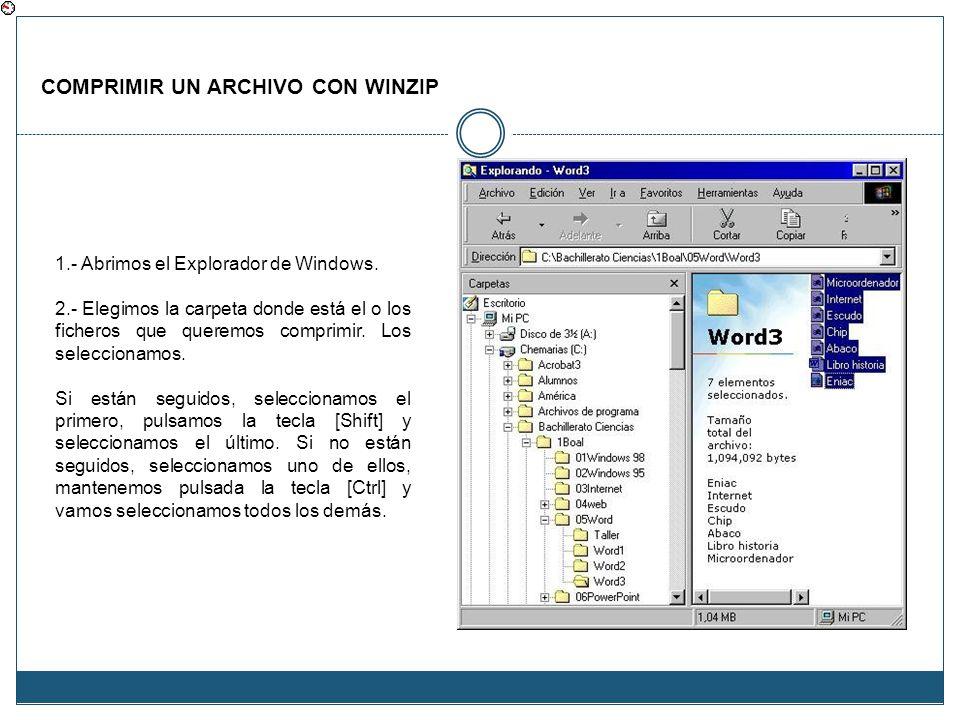 COMPRIMIR UN ARCHIVO CON WINZIP 1.- Abrimos el Explorador de Windows. 2.- Elegimos la carpeta donde está el o los ficheros que queremos comprimir. Los