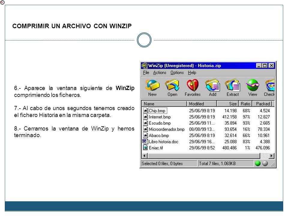 COMPRIMIR UN ARCHIVO CON WINZIP 6.- Aparece la ventana siguiente de WinZip comprimiendo los ficheros. 7.- Al cabo de unos segundos tenemos creado el f