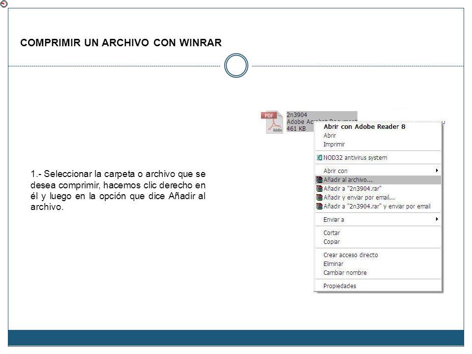 COMPRIMIR UN ARCHIVO CON WINRAR 1.- Seleccionar la carpeta o archivo que se desea comprimir, hacemos clic derecho en él y luego en la opción que dice