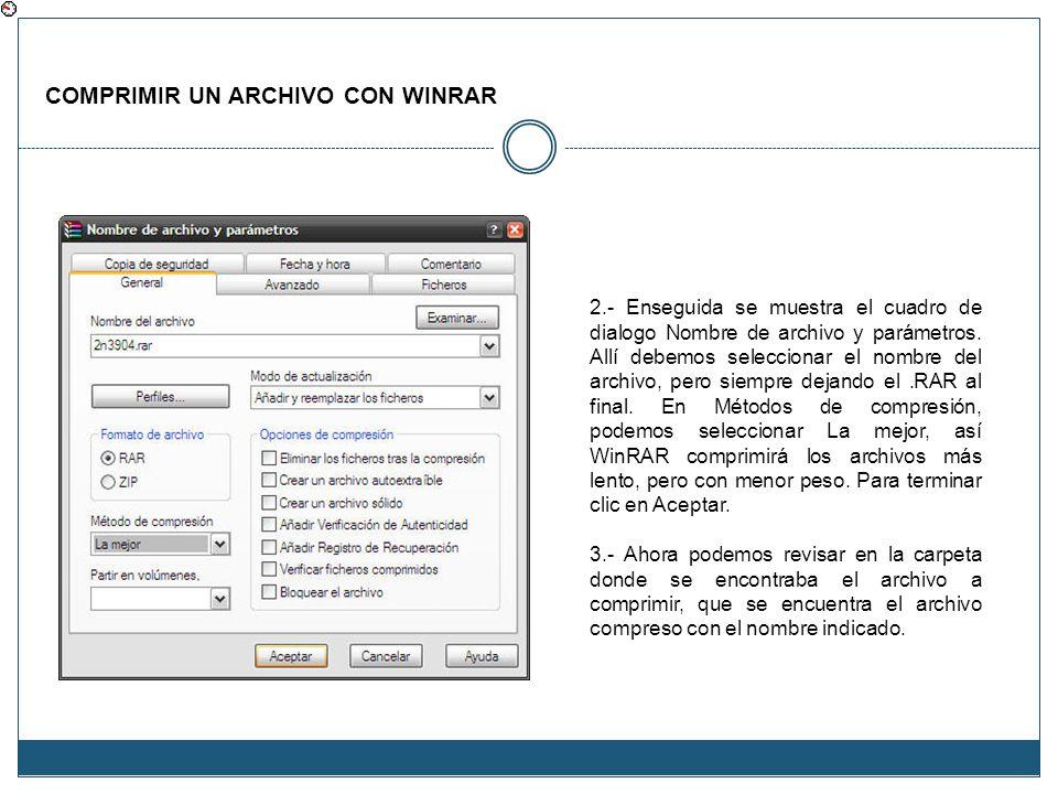 COMPRIMIR UN ARCHIVO CON WINRAR 2.- Enseguida se muestra el cuadro de dialogo Nombre de archivo y parámetros. Allí debemos seleccionar el nombre del a