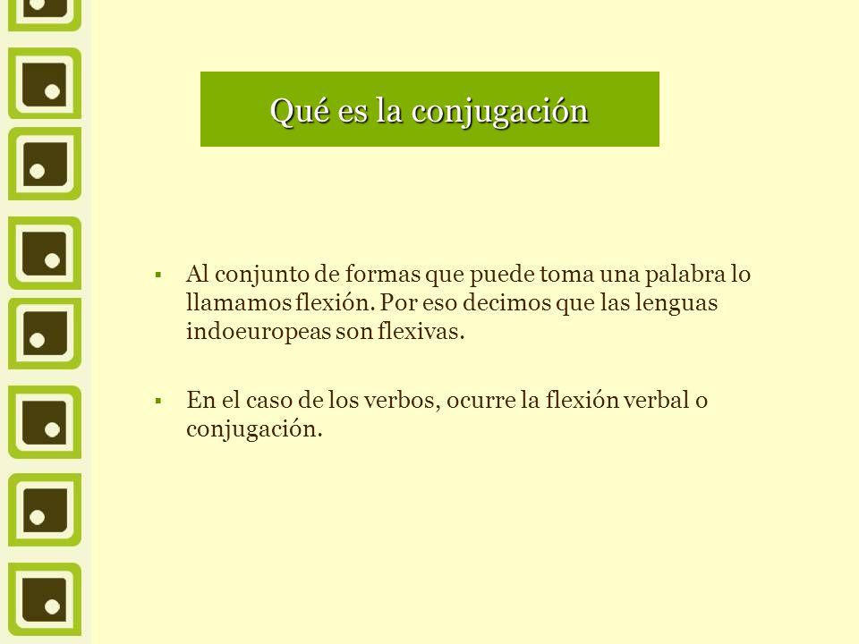 Qué es la conjugación Al conjunto de formas que puede toma una palabra lo llamamos flexión. Por eso decimos que las lenguas indoeuropeas son flexivas.