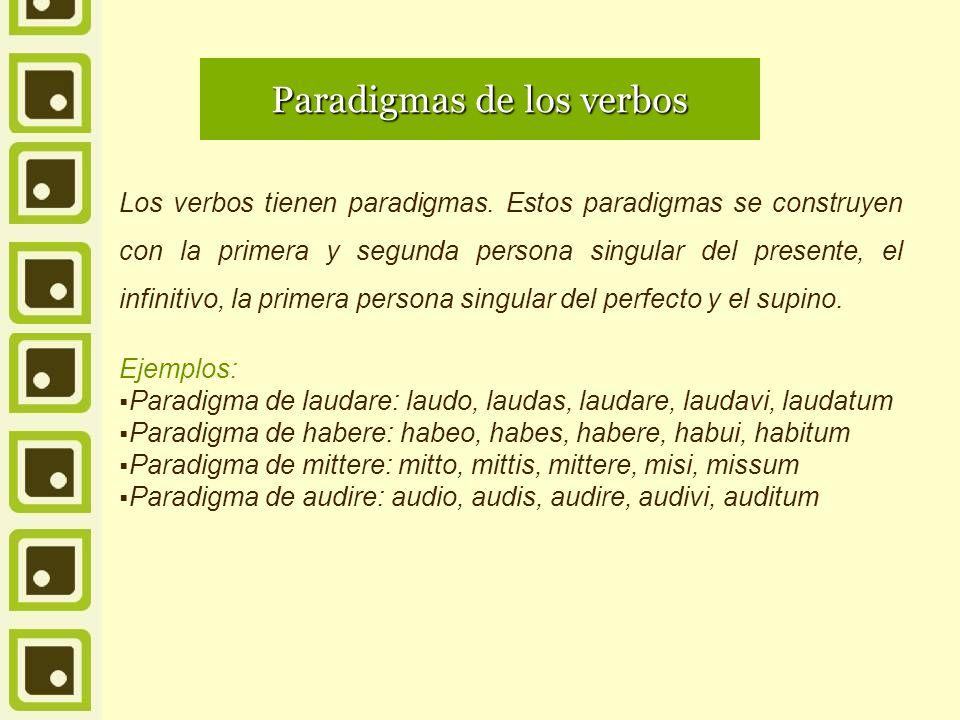 Paradigmas de los verbos Los verbos tienen paradigmas. Estos paradigmas se construyen con la primera y segunda persona singular del presente, el infin