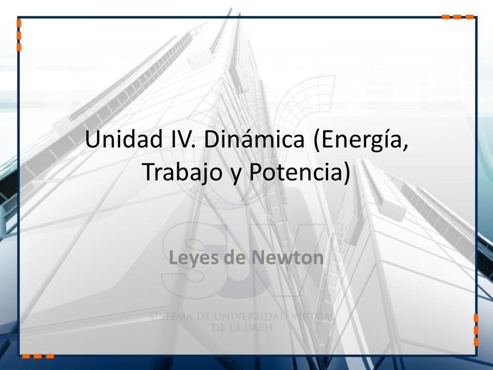 Unidad IV. Dinámica (Energía, Trabajo y Potencia) Leyes de Newton
