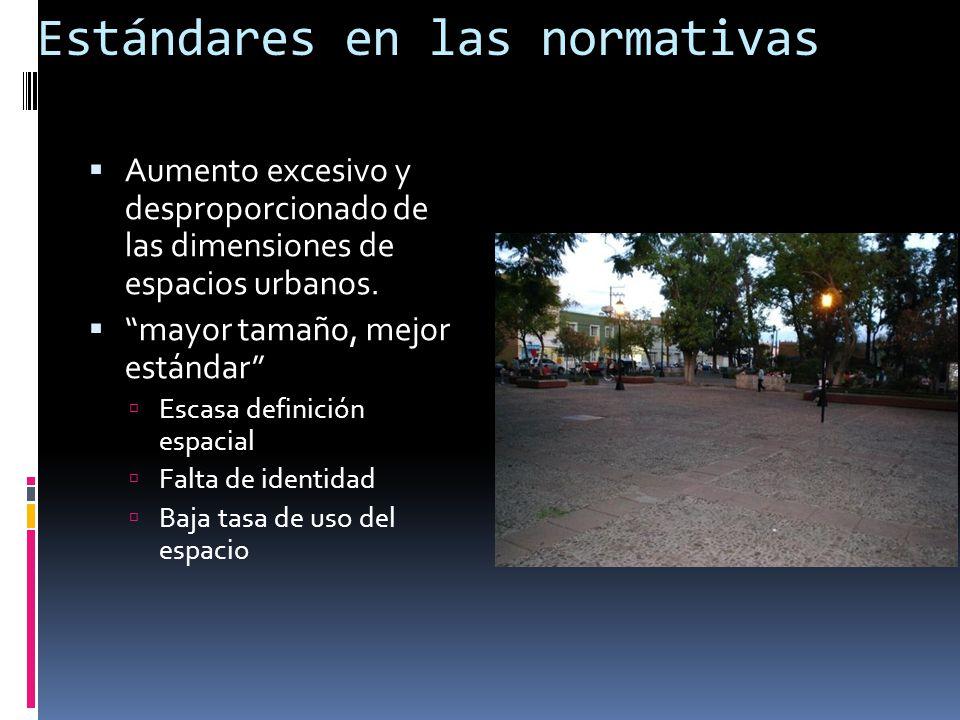 Estándares en las normativas Aumento excesivo y desproporcionado de las dimensiones de espacios urbanos. mayor tamaño, mejor estándar Escasa definició