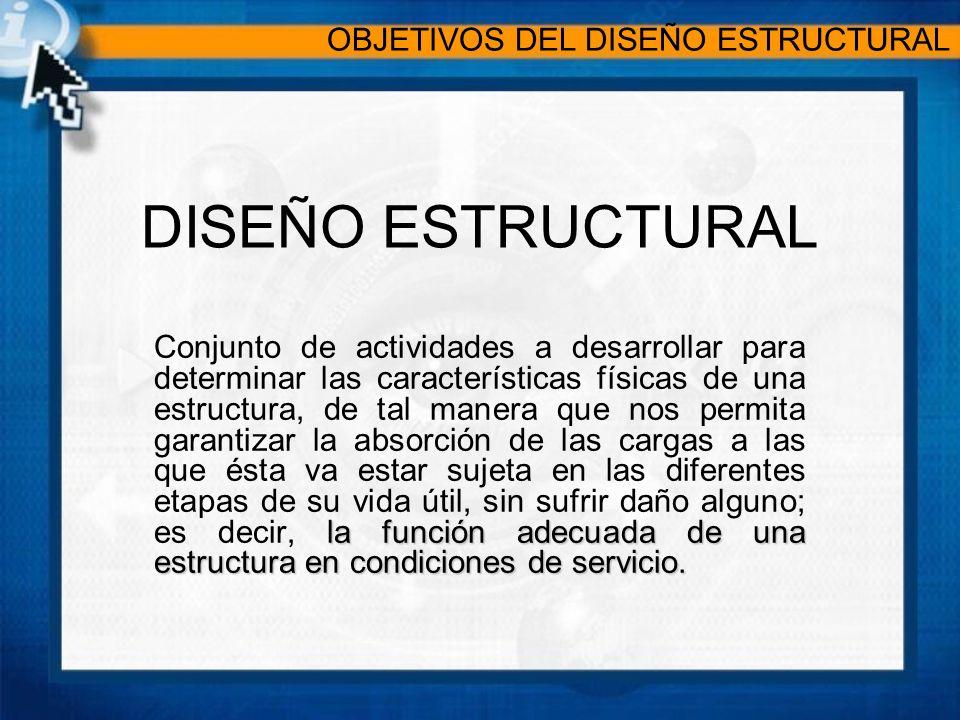 DISEÑO ESTRUCTURAL la función adecuada de una estructura en condiciones de servicio.