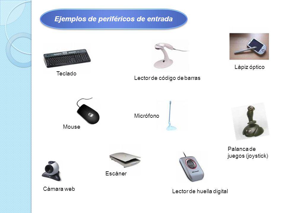 Teclado Mouse Micrófono Escáner Lector de código de barras Lector de huella digital Lápiz óptico Palanca de juegos (joystick) Cámara web Ejemplos de periféricos de entrada