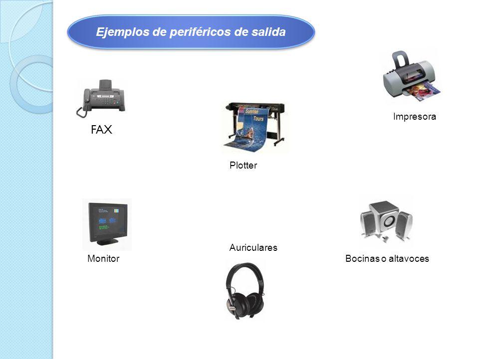 Impresora Plotter MonitorBocinas o altavoces Auriculares FAX Ejemplos de periféricos de salida