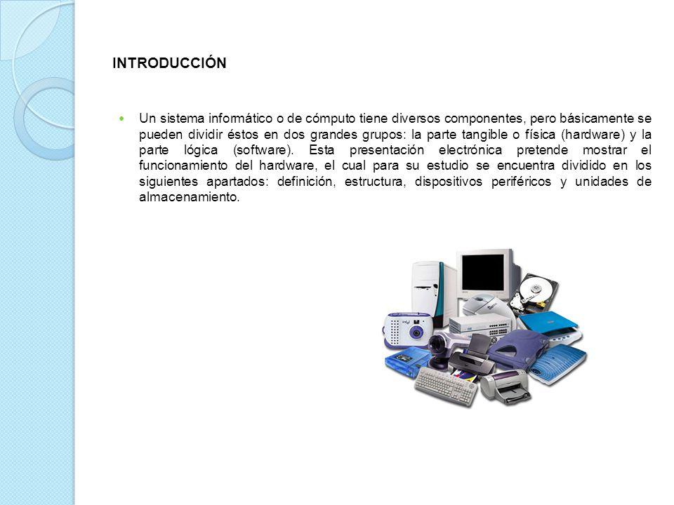 INTRODUCCIÓN Un sistema informático o de cómputo tiene diversos componentes, pero básicamente se pueden dividir éstos en dos grandes grupos: la parte tangible o física (hardware) y la parte lógica (software).