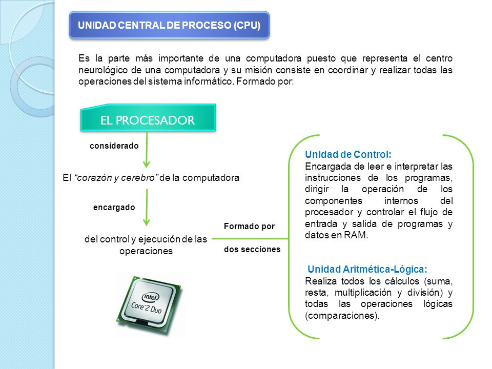 Es la parte más importante de una computadora puesto que representa el centro neurológico de una computadora y su misión consiste en coordinar y realizar todas las operaciones del sistema informático.