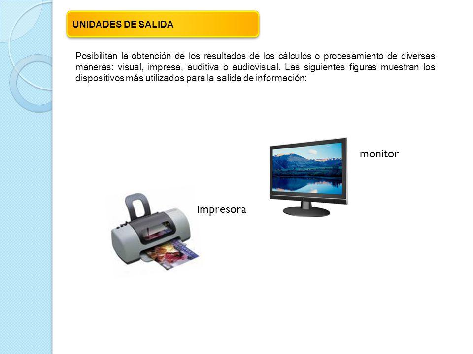 Posibilitan la obtención de los resultados de los cálculos o procesamiento de diversas maneras: visual, impresa, auditiva o audiovisual.