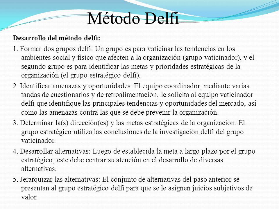 Salomón Valdez Honstein Desarrollo del método delfi: 1. Formar dos grupos delfi: Un grupo es para vaticinar las tendencias en los ambientes social y f