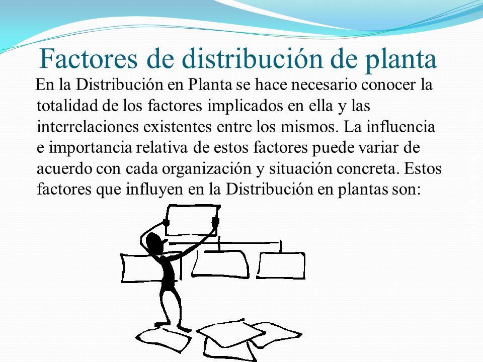 Salomón Valdez Honstein Factores de distribución de planta En la Distribución en Planta se hace necesario conocer la totalidad de los factores implica