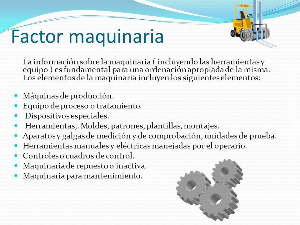 Salomón Valdez Honstein Factor maquinaria La información sobre la maquinaria ( incluyendo las herramientas y equipo ) es fundamental para una ordenaci