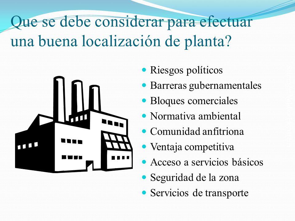 Salomón Valdez Honstein Que se debe considerar para efectuar una buena localización de planta? Riesgos políticos Barreras gubernamentales Bloques come