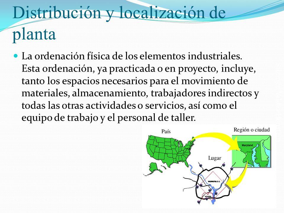 Salomón Valdez Honstein Distribución y localización de planta La ordenación física de los elementos industriales. Esta ordenación, ya practicada o en