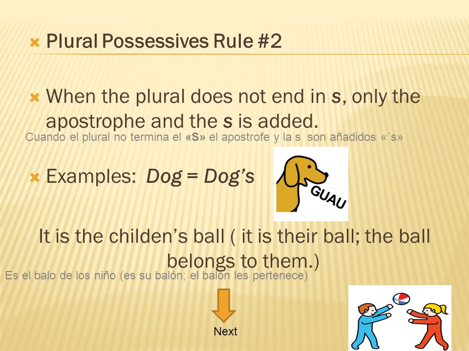 Plural Possessives Rule #2 When the plural does not end in s, only the apostrophe and the s is added. Examples: Dog = Dogs It is the childens ball ( i