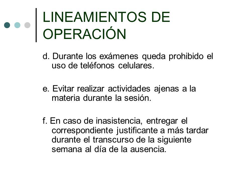 LINEAMIENTOS DE OPERACIÓN g.