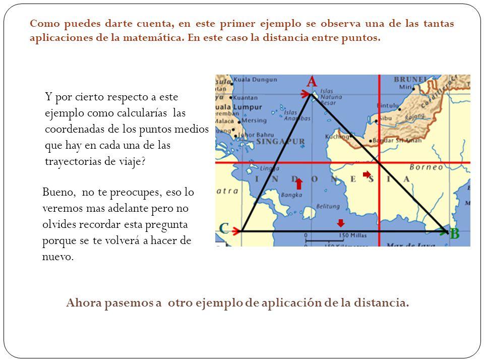 Y por cierto respecto a este ejemplo como calcularías las coordenadas de los puntos medios que hay en cada una de las trayectorias de viaje.