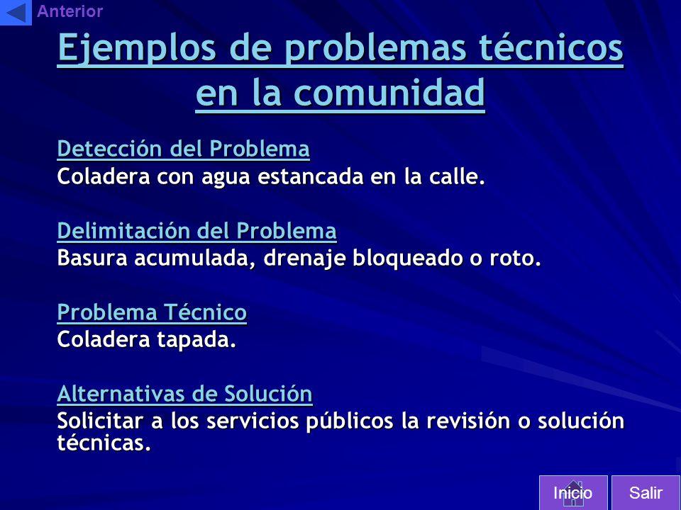 Ejemplos de problemas técnicos en la comunidad Detección del Problema Coladera con agua estancada en la calle. Delimitación del Problema Basura acumul