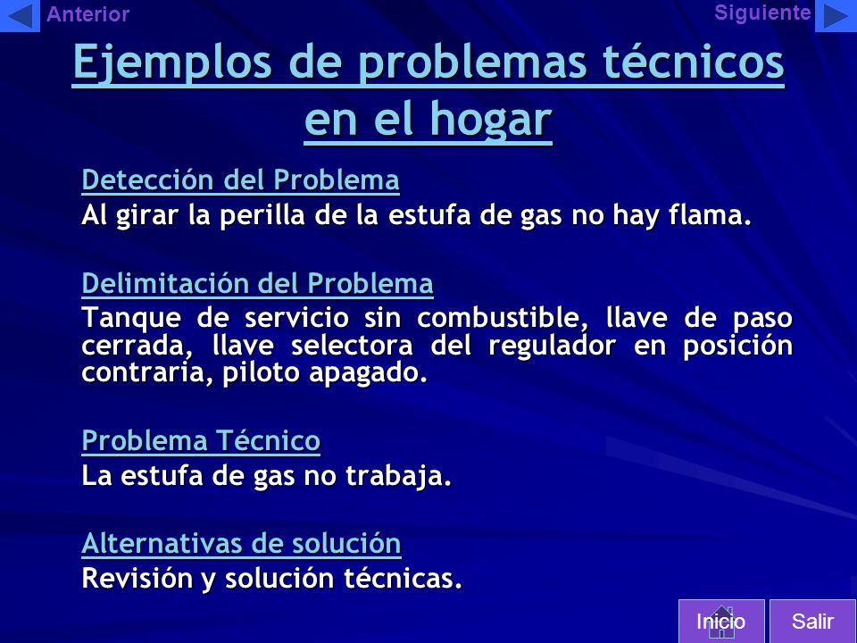 Detección del Problema Al girar la perilla de la estufa de gas no hay flama. Delimitación del Problema Tanque de servicio sin combustible, llave de pa