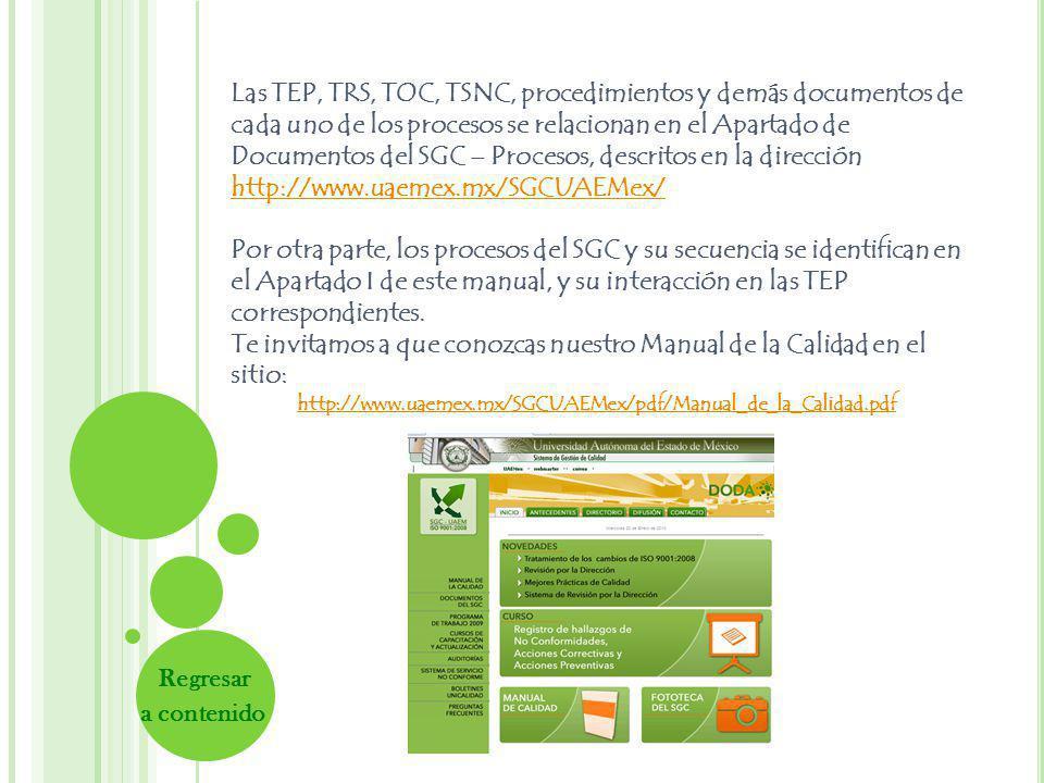 Las TEP, TRS, TOC, TSNC, procedimientos y demás documentos de cada uno de los procesos se relacionan en el Apartado de Documentos del SGC – Procesos, descritos en la dirección http://www.uaemex.mx/SGCUAEMex/ http://www.uaemex.mx/SGCUAEMex/ Por otra parte, los procesos del SGC y su secuencia se identifican en el Apartado I de este manual, y su interacción en las TEP correspondientes.