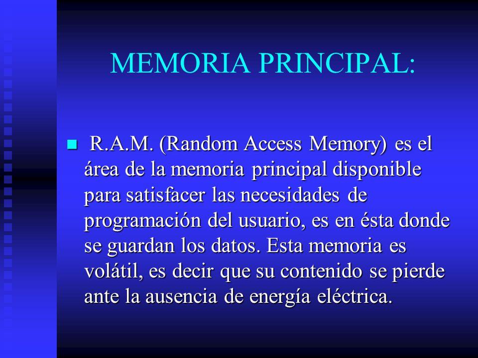 MEMORIA PRINCIPAL: R.A.M. (Random Access Memory) es el área de la memoria principal disponible para satisfacer las necesidades de programación del usu