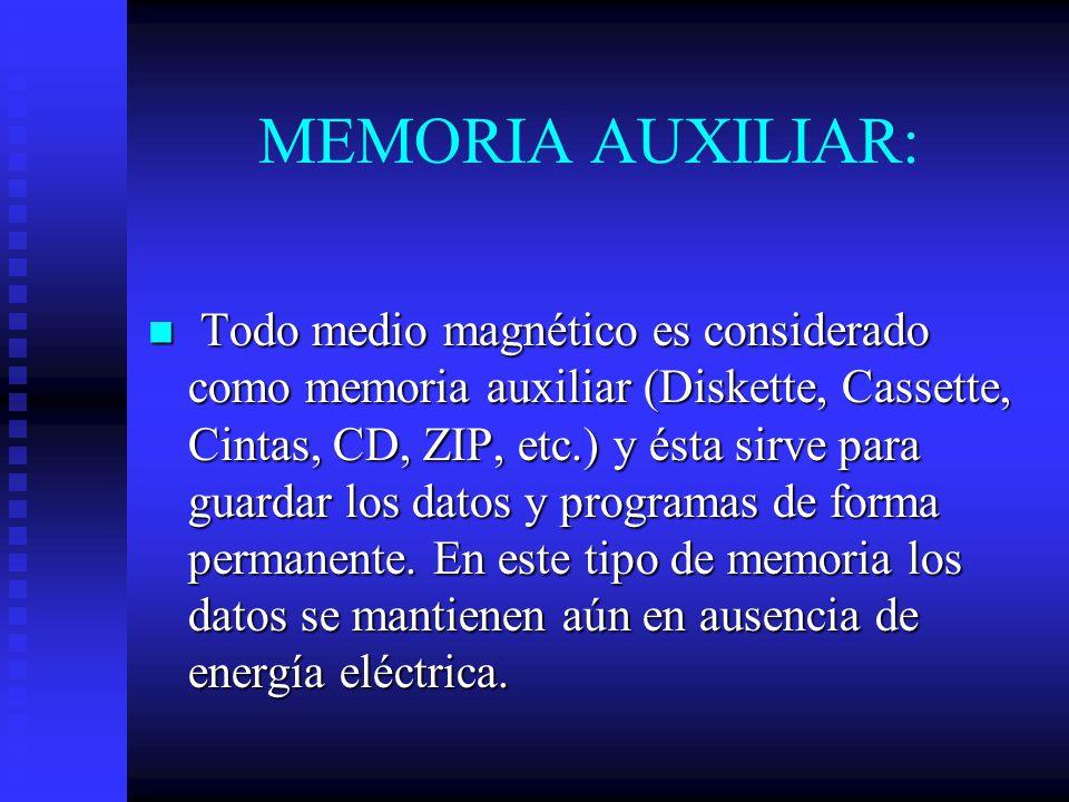 MEMORIA AUXILIAR: Todo medio magnético es considerado como memoria auxiliar (Diskette, Cassette, Cintas, CD, ZIP, etc.) y ésta sirve para guardar los