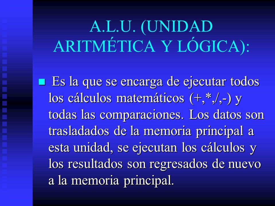 A.L.U. (UNIDAD ARITMÉTICA Y LÓGICA): Es la que se encarga de ejecutar todos los cálculos matemáticos (+,*,/,-) y todas las comparaciones. Los datos so