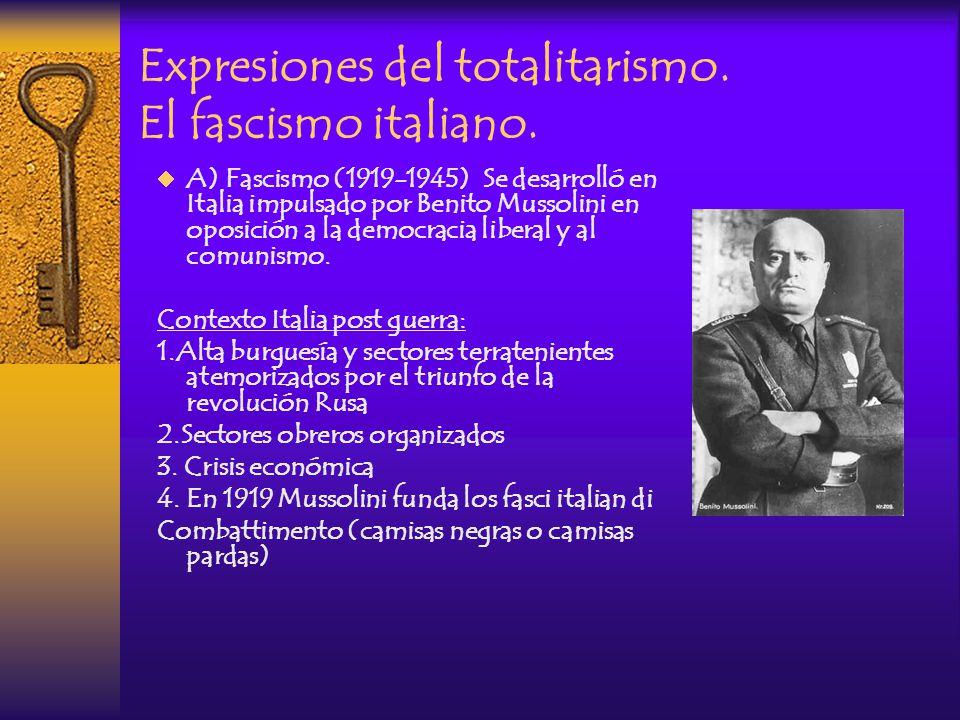 Fascismo fue el nombre adoptado por el régimen político totalitario que se estableció en Italia a partir del nombramiento de Benito Mussolini como Primer Ministro, en 1922; y que se prolongó hasta 1945, al final de la Segunda Guerra Mundial, con la invasión de Italia por parte de las Fuerzas Aliadas.